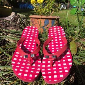 Coach bow tie flip flops size 7-8 pink